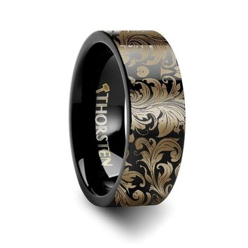 Filigree Leaf Pattern Engraving Black Tungsten Wedding Ring