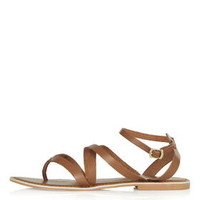 HERCULES Strappy Leather Sandals - Tan