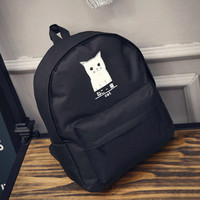 Women's Canvas Teenage Girls School Bags Cartoon Cat Female Travel Bag Black Backpack