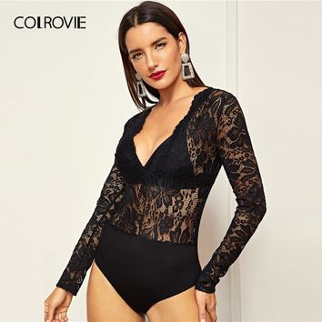 COLROVIE Black V-Neck Floral Winter Skinny Lace Bodysuit Women Without Bra 2018 Autumn Long Sleeve Sexy body femme Bodysuits