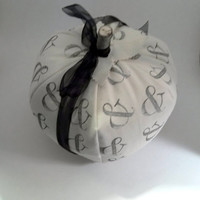 Large Fabric Pumpkin Black Ampersand Holiday Decor Halloween