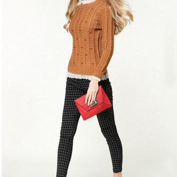 Heart Pattern Long Sleeve Lace High Neck Knit Sweatshirt