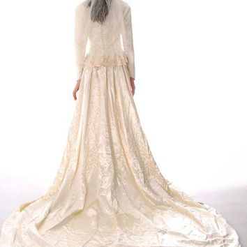 Vintage Wedding Gown 1940s Rayon Satin Long Train Beaded 32-26-free