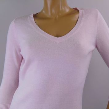 Karen Scott Light Pink Sweater Knit V-Neck 3/4 Sleeve Pullover Womens Sz Small
