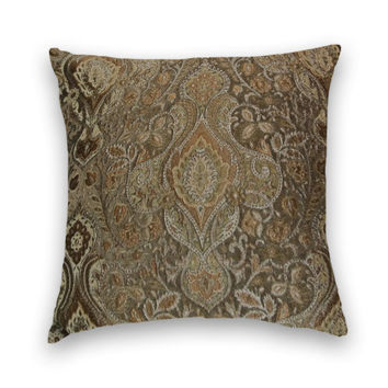 SALE Decorative Throw Pillow- 20 x 20-Traditional Design with Brown, Silver, Gold.