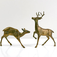 Vintage Large Hollywood Regency Decorative Brass Deer Pair