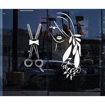 Window Sign for Business Vinyl Decal Wall Sticker Beauty Salon Tools Barber Shop Decor (n831w)
