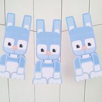 Kids Easter Craft Activity. Blue Easter Bunny printable paper toy. Instant download. Make you own Easter Bunny cards, banners and bunting!