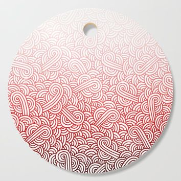 Gradient red and white swirls doodles Cutting Board by savousepate