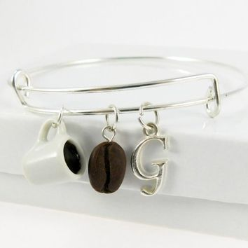 Personalized Coffee Bean One Size Fits All Bangle Charm Bracelet