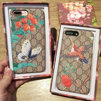 Cute GUCCI Bird Butterfly Print iPhone Phone Cover Case For iphone 6 6s 6plus 6s-plus