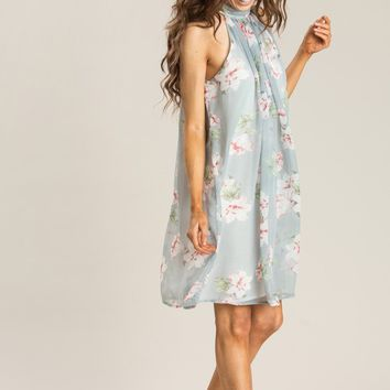 Blaire Dusty Blue Floral Shift Dress