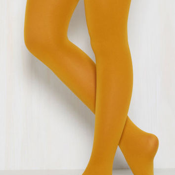 Accent Your Ensemble Tights in Curry | Mod Retro Vintage Tights | ModCloth.com