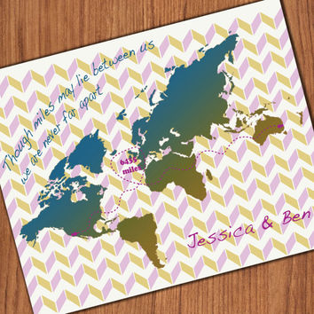 Best Friend Gift, Birthday, Long Distance Friendship Map, Going Away, Far Away Friend ,Long Distance Love,Long Distance Relationship