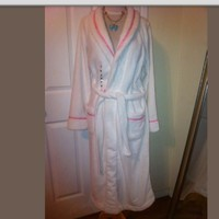 Victorias secret white pink fleece soft robe new M