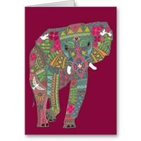 painted elephant pink cards from Zazzle.com