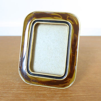 Small heavy tortoise look enamel picture frame