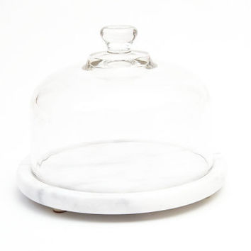 Vintage Marble Cloche, cheese dish, display, glass dome