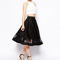 ASOS Midi Skirt In Scuba With Sheer Panel - Black