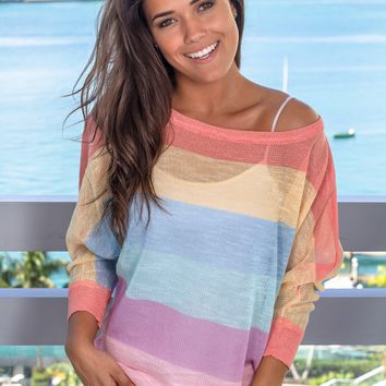 Rainbow Mesh Knit Top