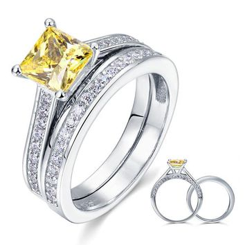 925 Sterling Silver 2-Pcs Wedding Ring Set 1.5 Ct Princess Cut Yellow Canary Simulated Diamond