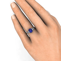 14K Blue Sapphire Engagement Ring Vintage Blue Sapphire White Sapphire 3 Stone Ring with Trillion White Sapphires