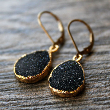 Black Druzy Drop Earrings, Black Crystal Dangle, Gold Vermeil, Black and Gold drop, Natural Druzy, Druzy Jewelry