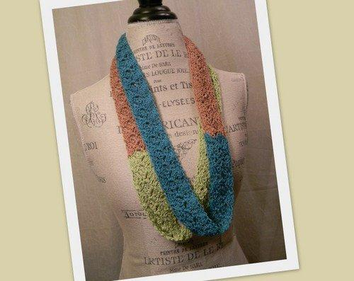 Infinity Crochet Scarf - Teal, Lime, and Tan - Handmade s032