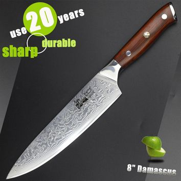 8 inch damascus chef knife Japanese kitchen knives VG10 super steel sharp durable cutlery real wood handle luxury gift 2017 new