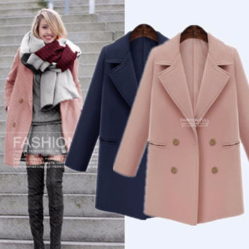 Casual Big Collar Long Sleeve Big Button Coat