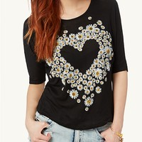 Daisy Heart Bow Back Dolman Top