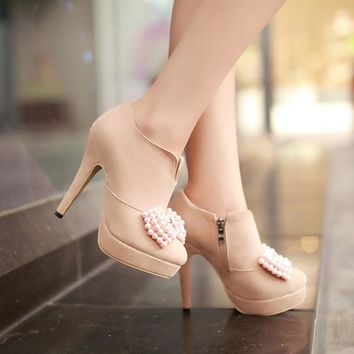 New Women Apricot Round Toe Stiletto Bow Pearl Fashion Ankle Boots