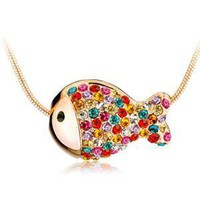Colorful Rhinestone Fish Necklace Clavicle Chain