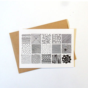 Postcard with envelope, square pattern, black and white patterns, simple designs