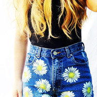 Daisy High Waisted Shorts High Waist Denim Women's Clothing Jean Shorts Summer Hipster Tumblr Fashion Music Festival Wear
