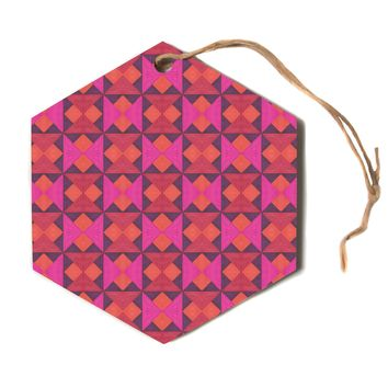 "Empire Ruhl ""A Quilt Pattern"" Pink Red Hexagon Holiday Ornament"