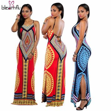African Dresses for Women Dashiki Traditional Dress Hippie Style Sexy Long Indian Clothing Print Female Causal Backless Robe