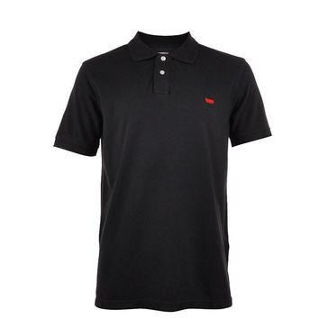 Levi's Mens Black Pique Knit Logo Embroidered Classic Polo Shirt Size Large