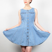 Vintage Denim Dress Mini Dress 90s Dress Full Skater Skirt 1990s Dress Soft Grunge Dress Skater Dress Hipster Blue Jean Sundress S Small