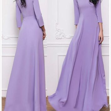 Purple Pleated Long Sleeve Round Neck Big Swing Elegant Church Party Maxi Dress