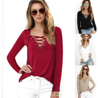 Sexy Women's Lace Up V Neck Sexy Women Blouse Top Long Sleeve Bandage Slim Fit Bottoming Shirts LX094