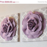 "MOTHERS DAY SALE Two Wall Flowers -Lilac Rose on Neutral Gray Tarika Print 12 x12"" Canvas Wall Art- Baby Nursery Wall Decor-"