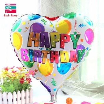 DKF4S 18 inch birthday heart air balls aluminum foil balloons happy birthday party decorations kids helium balloons party supplies