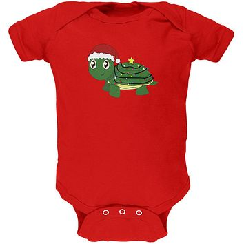 Christmas Turtle Lights Santa Hat Soft Baby One Piece