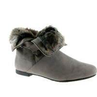 Women's Karyn's Fur Trimmed Cuffed Ankle High Boots Dusty-W-SU Grey