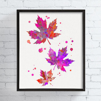 Watercolor Leaves, Leaves Illustration, Autumn Gift, Leaves Art Print, Leaf Print, Leaf Painting, Autumn Decor, Fall Decor, Girls Room Decor