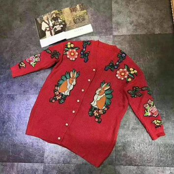 DCCKVQ8 Gucci' Women Flower Rabbit Tiger Head Embroidery Knit V-Neck Long Sleeve Pearl Buttons Sweater Cardigan Coat
