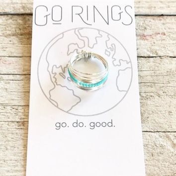 Go Ring - Silver w/ Turquoise
