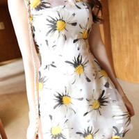 Yellow Sleeveless Daisy Print Dress