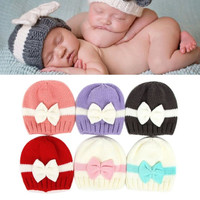 Newborn Baby Kids Girls Boys Lovely Bowknot Knitted Crochet Cap Winter Warm Hat Photography Props Caps YY2